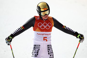 Viktoria Rebensburg of Germany reacts at the finish during the Ladies' Giant Slalom on day six of the PyeongChang 2018 Winter Olympic Games at Yongpyong Alpine Centre on February 15, 2018 in Pyeongchang-gun, South Korea.