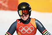Viktoria Rebensburg of Germany reacts at the finish during the Alpine Skiing Ladies Super-G on day eight of the PyeongChang 2018 Winter Olympic Games at Jeongseon Alpine Centre on February 17, 2018 in Pyeongchang-gun, South Korea.