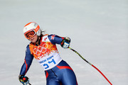 Chemmy Alcott of Great Britain finishes a run during the Alpine Skiing Women's Super-G on day 8 of the Sochi 2014 Winter Olympics at Rosa Khutor Alpine Center on February 15, 2014 in Sochi, Russia.