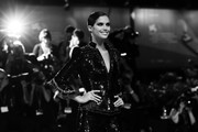 """[Editor's Note: Image was converted to black and white] Sara Sampaio walks the red carpet ahead of the """"Seberg"""" screening during during the 76th Venice Film Festival at Sala Grande on August 30, 2019 in Venice, Italy."""