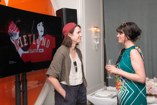 AMC Hosts An Intimate Luncheon With Joy Nash, Marti Noxo, And Aisha Tyler In Celebration Of Their New Original Series, 'Dietland' [red,yellow,fashion,design,event,visual arts,art,style,fashion design,aisha tyler,joy nash,marti noxon,dawn oporter,luncheon,dietland,amc,l,their new original series,celebration]