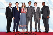 (L-R) Matthew Tolmach, Marc Webb, Emma Stone, Andrew Garfield, Dane Dehaan and Jamie Foxx attend the 'The Amazing Spider-Man 2: Rise Of Electro' Berlin Premiere at CineStar on April 15, 2014 in Berlin, Germany.