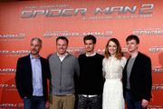 (L-R)  Producer Matt Tolmach, director Marc Webb, Andrew Garfield, Emma Stone and Dane DeHaan attend 'The Amazing Spider-Man 2: Rise Of Electro' Rome Photocall at Grand Hotel St Regis on April 14, 2014 in Rome, Italy.