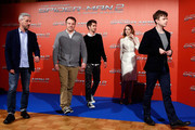 From left, producer Matt Tolmach, director Marc Webb, Andrew Garfield, Emma Stone and Dane DeHaan attend 'The Amazing Spider-Man 2: Rise Of Electro' Rome Photocall at Grand Hotel St Regis on April 14, 2014 in Rome, Italy.