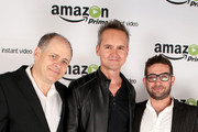 (L-R) Jonathan Alter, Director, Amazon Studios Roy Price and Joe Lewis, Head of Original Programming at Amazon Studios attend the Amazon Studios Launch Party to celebrate the premieres of their 1st original series' 'Alpha House' and 'Betas' at Boulevard3 on November 6, 2013 in Hollywood, California.