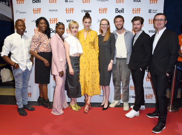 2019 Toronto International Film Festival - 'White Lie' Photo Call [red carpet,event,carpet,premiere,flooring,award,white lie,photo call,l-r,toronto international film festival,photo call,thomas olajide,calvin thomas,connor jessup,amber anderson,christine horne]