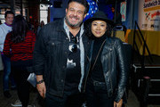 Adam Richman (L) and guest attend America's Greatest Sandwich Showdown during New York City Wine & Food Festival at Highline Stages on October 13, 2019 in New York City.