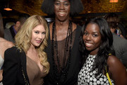 """(L-R) Actress Renee Olstead, ANTM Judge J. Alexander, and actress Camille Winbush attend the """"America's Next Top Model"""" Cycle 22 Premiere Party presented by OPPO and NYLON on July 28, 2015 in West Hollywood, California."""