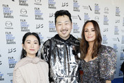 (L-R) Hong Chau, Andrew Ahn and Catt Sadler attend The 2020 Film Independent Spirit Awards with American Airlines at The 2020 Film Independent Spirit Awards on February 08, 2020 in Santa Monica, California.