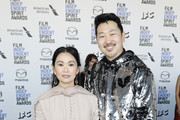 (L-R) Hong Chau and Andrew Ahn  attend The 2020 Film Independent Spirit Awards with American Airlines at The 2020 Film Independent Spirit Awards on February 08, 2020 in Santa Monica, California.