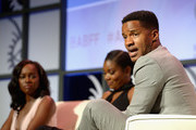 Gabrielle Union, Aja Naomi King, and Nate Parker attends The American Black Film Festival first look at 'A Birth Of A Nation' on June 17, 2016 in Miami Beach, Florida.