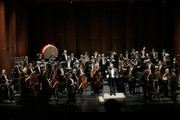 Conductor Zubin Mehta onstage with the Israel Philharmonic Orchestra at American Friends Of The Israel Philharmonic Orchestra Benefit Honoring Hans Zimmer at Wallis Annenberg Center for the Performing Arts on July 16, 2014 in Beverly Hills, California.