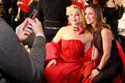 Elisabeth Rohm and Jennifer Pratt  poses backstage during The American Heart Association's Go Red for Women Red Dress Collection 2019 at Hammerstein Ballroom on February 7, 2019 in New York City.