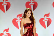 Brooke Burke walks the runway for The American Heart Association's Go Red For Women Red Dress Collection 2019 Presented By Macy's at Hammerstein Ballroom on February 7, 2019 in New York City.