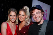 Sara Haines and Meghan Trainor pose backstage at The American Heart Association's Go Red For Women Red Dress Collection 2020 at Hammerstein Ballroom on February 05, 2020 in New York City.