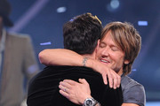 """American Idol Judges Harry Connick, Jr. (L) and Keith Urban onstage during Fox's """"American Idol"""" XIII Finale at Nokia Theatre L.A. Live on May 21, 2014 in Los Angeles, California."""