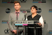 Musician Lance Bass and TV personality Rosie Pierri of 'The Real Housewives of New Jersey' speak onstage at the 2013 American Music Awards Nominations Press Conference at B.B. King Blues Club & Grill on October 10, 2013 in New York City.
