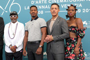 "(L-R) Spike Lee,  director Nate Parker, Theo Rossi and Miluana Jackson attend ""American Skin"" photocall during the 76th Venice Film Festival at Sala Grande on September 01, 2019 in Venice, Italy."