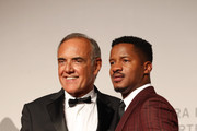"""Alberto Barbera and Nate Parker walk the red carpet ahead of the """"American Skin"""" screening during the 76th Venice Film Festival at Sala Giardino on September 01, 2019 in Venice, Italy."""
