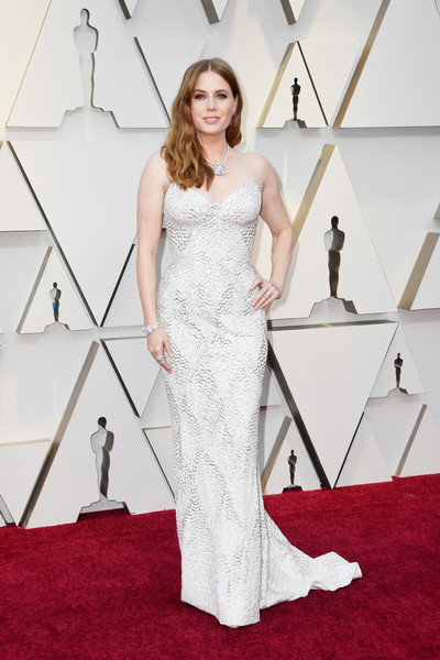 91st Annual Academy Awards - Arrivals [dress,gown,clothing,red carpet,carpet,flooring,shoulder,fashion model,bridal party dress,wedding dress,arrivals,amy adams,academy awards,hollywood,highland,california,annual academy awards]