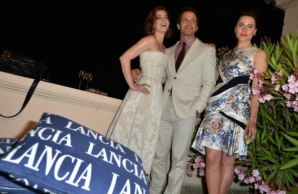 Celebrities At The Lancia Cafe - Day 1 - Taormina Filmfest 2013 [fashion,clothing,shoulder,dress,beauty,event,fashion design,formal wear,haute couture,ceremony,taormina filmfest,lancia cafe,taormina,italy,celebrities,zack snyder,antje traue,amy adams]