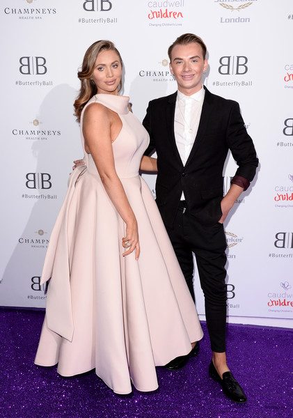 The Butterfly Ball 2019 - Arrivals [clothing,dress,formal wear,fashion,suit,red carpet,carpet,hairstyle,premiere,tuxedo,arrivals,butterfly ball,london,england,grosvenor house hotel,amy childs,harry derbidge]