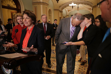 Amy Klobuchar Senate Lawmakers Address The Press After Their Weekly Luncheons