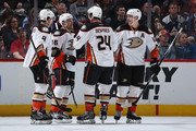 Ryan Garbutt #16 of the Anaheim Ducks celebrates his goal against the Colorado Avalanche with Cam Fowler #4, Simon Despres #24 and Corey Perry #10 to take a 3-0 lead in the second period at Pepsi Center on April 9, 2016 in Denver, Colorado.
