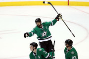 Jamie Benn #14 of the Dallas Stars celebrates a goal in the third period against the Anaheim Ducks at American Airlines Center on October 13, 2018 in Dallas, Texas.
