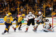 Pontus Aberg #46 of the Nashville Predators scores a goal against the defense of Jonathan Bernier #1 of the Anaheim Ducks during the third period in Game Six of the Western Conference Final during the 2017 Stanley Cup Playoffs at Bridgestone Arena on May 22, 2017 in Nashville, Tennessee.