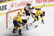 Colton Sissons #10 of the Nashville Predators scores a goal against the defense of Jonathan Bernier #1 of the Anaheim Ducks during the third period in Game Six of the Western Conference Final during the 2017 Stanley Cup Playoffs at Bridgestone Arena on May 22, 2017 in Nashville, Tennessee.