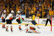 Jonathan Bernier #1 of the Anaheim Ducks reacts after Colton Sissons #10 of the Nashville Predators scored during the first period in Game Six of the Western Conference Final during the 2017 Stanley Cup Playoffs at Bridgestone Arena on May 22, 2017 in Nashville, Tennessee.