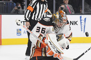 John Gibson #36 of the Anaheim Ducks blocks a Vegas Golden Knights' shot in the second period of their game at T-Mobile Arena on October 20, 2018 in Las Vegas, Nevada. The Golden Knights defeated the Ducks 3-1.