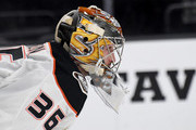 John Gibson #36 of the Anaheim Ducks takes a break during a stop in play in the second period of a game against the Vegas Golden Knights at T-Mobile Arena on October 20, 2018 in Las Vegas, Nevada.