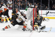 Marc-Andre Fleury #29 of the Vegas Golden Knights blocks a shot by Adam Henrique #14 of the Anaheim Ducks in the third period of their game at T-Mobile Arena on October 20, 2018 in Las Vegas, Nevada. The Golden Knights defeated the Ducks 3-1.