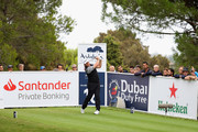Lee Westwood of England tees off on the 16th hole  during the completion of the weather affected second round of the Andalucia Valderrama Masters at Real Club Valderrama on October 20, 2018 in Cadiz, Spain.
