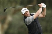Lee Westwood of England plays his 2nd shot on the 4th hole during the completion of the weather affected second round of the Andalucia Valderrama Masters at Real Club Valderrama on October 20, 2018 in Cadiz, Spain.