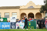 Lee Westwood of England tees off on the 10th hole during the completion of the weather affected second round of the Andalucia Valderrama Masters at Real Club Valderrama on October 20, 2018 in Cadiz, Spain.