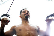 Andre Ward works out during an open media workout on June 2, 2017 in Hayward, California. Ward held a public workout in preparation for his upcoming rematch with Sergey Kovalev, whom he'll meet for a rematch on Saturday, June 17 in Las Vegas, Nevada at the Mandalay Bay Events Center.