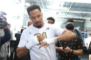 Andre Ward wraps his hand during an open media workout on June 2, 2017 in Hayward, California. Ward held a public workout in preparation for his upcoming rematch with Sergey Kovalev, whom he'll meet for a rematch on Saturday, June 17 in Las Vegas, Nevada at the Mandalay Bay Events Center.