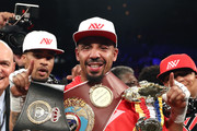 Andre Ward celebrates after his light heavyweight championship bout against Sergey Kovalev at the Mandalay Bay Events Center on June 17, 2017 in Las Vegas, Nevada. Ward retained his title with a TKO in the eighth round.