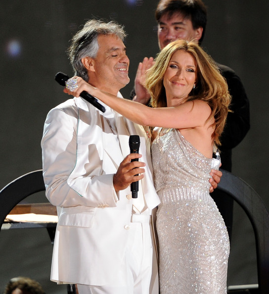 Singers Andrea Bocelli and Celine Dion perform at Central Park, Great Lawn on September 15, 2011 in New York City.