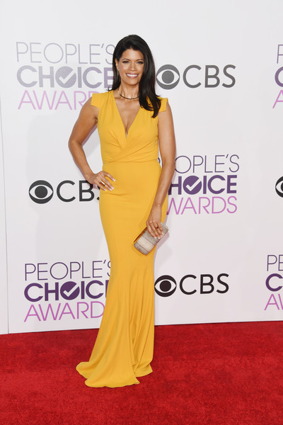 People's Choice Awards 2017 - Arrivals [yellow,flooring,fashion model,carpet,shoulder,red carpet,gown,dress,fashion show,fashion,peoples choice awards,microsoft theater,los angeles,california,andrea navedo,arrivals]