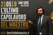 Andrea Pirlo poses during a press conference to announce Andrea Pirlo farewell match on April 12, 2018 in Milan, Italy.