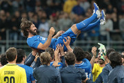 Andrea Pirlo celebrates with his team mates at the end of Andrea Pirlo Farewell Match at Stadio Giuseppe Meazza on May 21, 2018 in Milan, Italy.