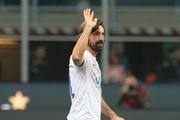 Andrea Pirlo greets the fans prior Andrea Pirlo Farewell Match at Stadio Giuseppe Meazza on May 21, 2018 in Milan, Italy.
