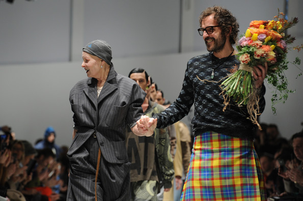 Andreas Kronthaler Designer Vivienne Westwood and Andreas Kronthaler acknowlledge the applause of the audience after the Vivienne Westwood show as a part of Milan Fashion Week Menswear Autumn/Winter 2014 on January 12, 2014 in Milan, Italy.