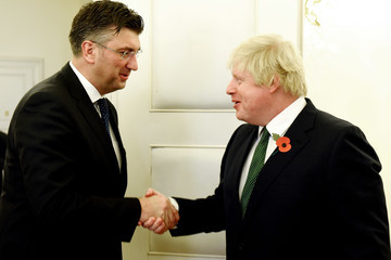 Andrej Plenkovic British Foreign Minister Boris Johnson on Official Visit to Croatia