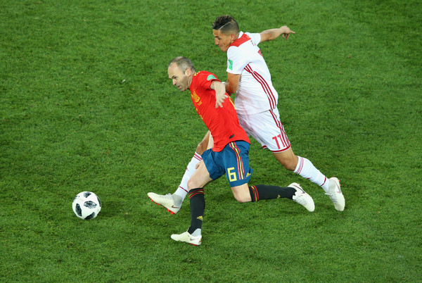 Spain Vs. Morocco: Group B - 2018 FIFA World Cup Russia [player,soccer,sports,soccer player,football,sports equipment,football player,team sport,ball game,soccer ball,faycal fajr,andres iniesta,russia,morocco,spain,kaliningrad stadium,spain vs. morocco: group b - 2018 fifa world cup,2018 fifa world cup,group b match]