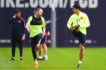 Andres Iniesta Barcelona Training Session and Press Conference